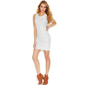 Rachel Roy Silver White Sequin Sheath Dress